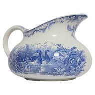 French Transferware Jug, Pretty Blue Floral Pitcher
