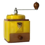1950's French Vintage Peugeot Coffee Grinder / Mill in Yellow with Burr Grinder
