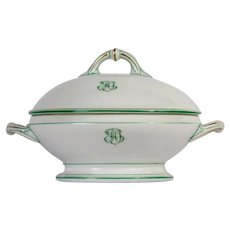 French Antique Ceramic Serving Tureen, Monogrammed