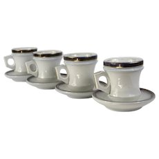 French Bistro Coffee Cups and Saucers, Authentic Heavy Set of 4