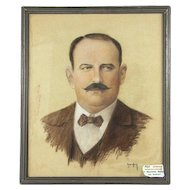 1920s French Portrait of a French Gentleman, Pastel Drawing Signed by Artist