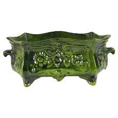 French Antique Enamel Jardinière, Cache Pot, Planter or Centerpiece Metal