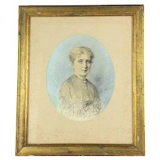 Antique French Portrait of a French Girl, Pastel Drawing Signed by Artist 1800s