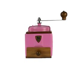 1950s French Vintage Peugeot Coffee Mill Grinder Pink with Burr Grinder