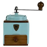 1950s French  Peugeot Coffee Mill / Grinder, Sky Blue with Burr Grinder