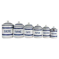 French Enamel Canisters, Set of 6  White and Blue 1930s