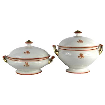 French Antique Ceramic Serving Tureens a SET of 2, Footed Bowls, Monogrammed