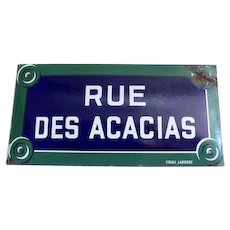 1940s French Enamel / Porcelain Street Sign,Street of Acacias, Parisian Sign LARGE