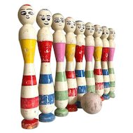 Rare French Bowling Pins, Skittles Set Of 9 Clowns, Hand Painted 1940s