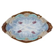 Antique French Asparagus Serving Platter. Majolica Barbotine Plate by Orchies circa 19th Century