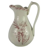 Antique French Pitcher / Jug in Raspberry Red Transferware