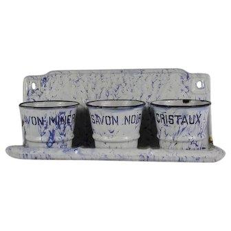 French Vintage  Enamel Laundry Soap Rack, White and Blue Graniteware