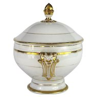 Antique Paris Porcelain Soup Tureen in White and Gold