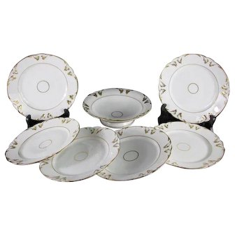 Antique French 7pc Dessert Service in Paris Porcelain White and Gold