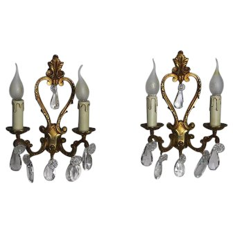 Pair of French Bronze Wall Sconces with Hanging Glass Crystals c. 1900