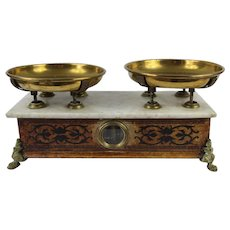 French Napoleon III Kitchen Scales,  Marble, Wood and Brass C 1930s