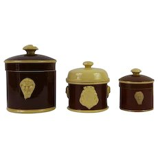 French Antique Stoneware Terrine Pots, Collection of 3, 1800s Sarreguemines Terrines