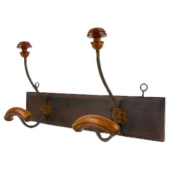 French Country Coat Hook, Wooden Farmhouse Hat Rack with 2 LARGE Pegs