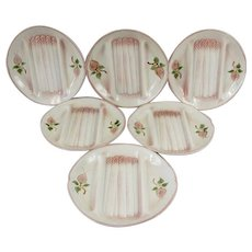 French Vintage Majolica Asparagus Serving set, 6 Plates