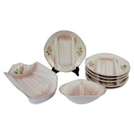 French Majolica Asparagus Serving set, Hand Painted