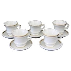 French Bistro Coffee Cups and Saucers,  Authentic Heavy Set of 5