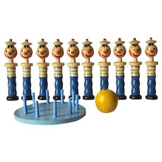 Rare Vintage French Bowling Pins, Set of 10 Marine Skittles