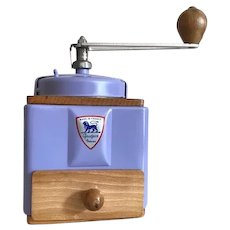 1950s French Peugeot Coffee Mill / Grinder in Lavender with Burr Grinder