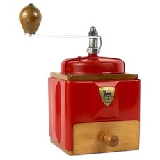1950s French Peugeot Coffee Mill / Grinder in Red with Burr Grinder, Restored