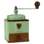 1950s French Peugeot Coffee Mill / Grinder in Pale Green with Burr Grinder