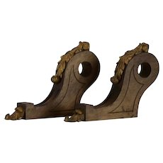 French Chateau Wooden Curtain Pole Brackets, Acanthus Leaf Decoration
