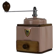 1950s French Vintage Peugeot Coffee Mill Grinder Ointment Pink with Burr Grinder