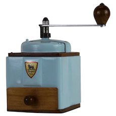 1950s French Vintage Peugeot Coffee Mill Grinder Sky Blue with Burr Grinder