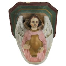 Beautiful Antique French Polychrome Console Shelf, 19c Hand Painted Church Angel