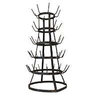 Vintage French Black Wine Bottle Drying Rack (Herisson)