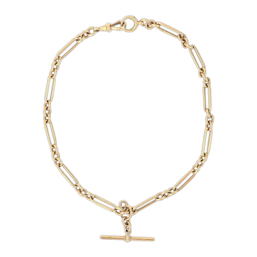 Heavy 18 Karat Yellow GoldEdwardian Trombone LinkAlbert Watch Chain, c. 1905