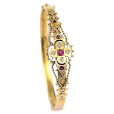 Fancy Antique Victorian 15k 15ct Yellow Gold 'Puginesque' Ruby and Diamond Bangle