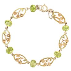 Victorian Peridot and 18 Karat Green, Yellow and Rose Gold Art Nouveau Bracelet