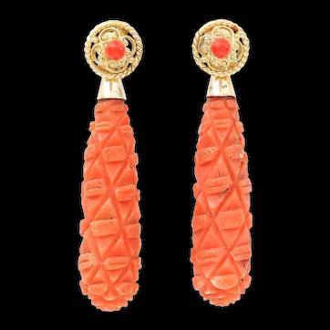 Victorian 18 Karat Gold Carved Coral Torpedo Drop Earrings, circa 1890