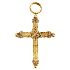 Rare Large Late Georgian Cannetille Butterfly Cross 18K 18ct Yellow Gold Circa 1830
