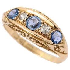 Edwardian 18k 18ct Yellow Gold Sapphire and Diamond Five Stone Gypsy Ring, Circa 1917