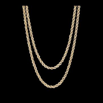 "Antique Victorian 15 Karat Yellow Gold Rope Muff Guard Chain 153cm/60"""