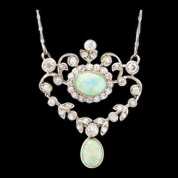 Antique Edwardian Opal and Diamond 18 Karat Gold Articulated Pendant Necklace
