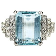 Original Art Deco 5.00 Carat Aquamarine And Diamond 18 Karat White Gold Ring