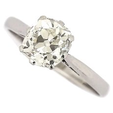 Platinum 1.70 Carat Solitaire Old Mine Cut Diamond Engagement Ring, circa 1930