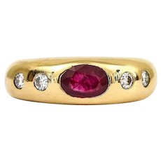 18 Karat Yellow Gold Ruby and Diamond Gypsy Set Ring
