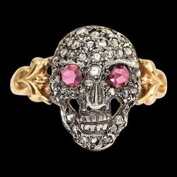 Momento Mori Rose Cut Ruby and Diamond Skull Ring 18 Karat Gold