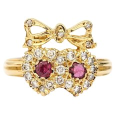 Vintage 18 Karat Ruby and Diamond Sweetheart Ring