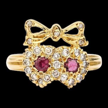 Vintage 18 Karat Ruby and Diamond Sweetheart Ring