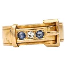 Edwardian 18 Karat Yellow Gold Sapphire and Diamond Buckle Ring, circa 1905