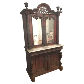 19th Century Hand Carved Almirah Cupboard - India